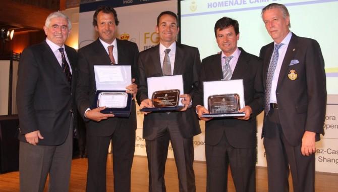 Homenaje a Santi Luna, Nacho Garrido y Miguel Ángel Martín en la Gala de la Federación de Golf de Madrid