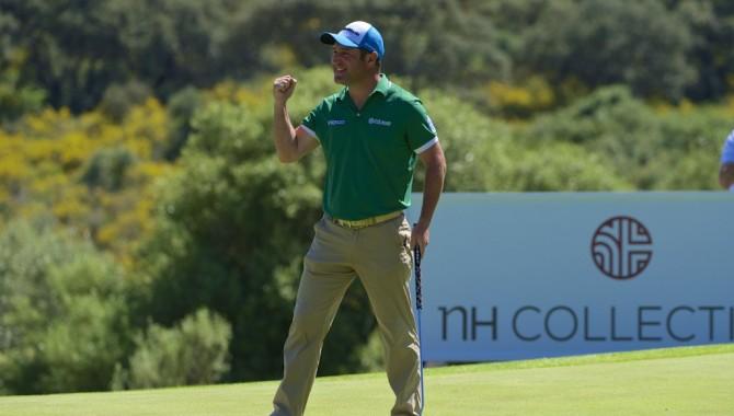 Marco Crespi (-10), ganador del NH Collection Open, con Jordi García Pinto (-8), segundo, y Adrián Otaegui (-6), sexto
